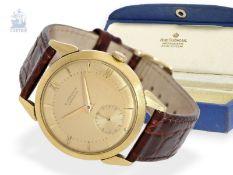 Armbanduhr: frühe, sehr seltene Herrenarmbanduhr mit Originalbox, E.Gübelin Lucerne, 1947Ca. Ø34,