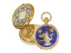 Taschenuhr: einzigartige Gold/Emaille-Taschenuhr für den chinesischen Markt mit Cloisonné-
