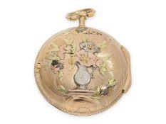 Taschenuhr: ausgesprochen schöne Louis XV Spindeluhr mit 4-Farben-Goldgehäuse, signiert Hentschel