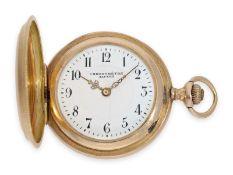 Taschenuhr: seltene, rotgoldene Präzisionstaschenuhr in der Damengröße, Savonnette Alpina Union