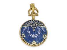 Taschenuhr/Anhängeuhr: extrem rare Omega Gold/Emaille/Platin-Damenuhr mit Diamantbesatz, Art