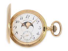 Taschenuhr: seltene, doppelseitige astronomische Goldsavonnette mit Kalendarium nach dem Patent