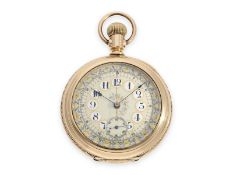 Taschenuhr: höchst attraktiver, früher amerikanischer Taschen-Chronograph um 1890 mit