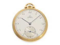 Taschenuhr: feine Art déco Frackuhr von Omega, 18K Gold, 30er JahreCa. Ø48mm, ca. 57g, 18K Gold,