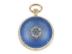 Taschenuhr/Anhängeuhr: Gold/Emaille-Damenuhr von sehr feiner Qualität mit Diamantbesatz,