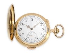 Taschenuhr: besonders große und schwere Goldsavonnette mit Repetition und Chronograph, Schweiz ca.