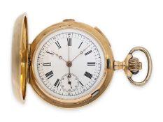 Taschenuhr: schwere, rotgoldene Savonnette mit Repetition und Chronograph und schwerer,