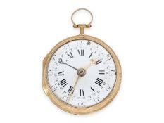 Taschenuhr: sehr seltene, goldene Spindeluhr mit Zeigerdatum, Louis & Elie Preudhom(m)e Neuwied &