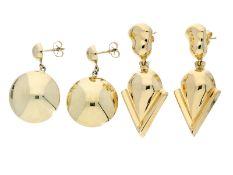 Ohrschmuck: 2 Paar moderne und ausgefallene Ohrstecker, 14K/18K Gold, neuwertig und ungetragen1. ca.