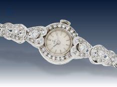 """Armbanduhr: ausgefallene vintage Damenuhr, signiert """"Ebel"""", reichhaltiger Brillantbesatz, 18K"""