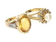 Ring: Konvolut aus 2 antiken/vintage Goldringen1. ca. Ø17,5mm, RG54, ca. 6,5g, 14K Gold, aufwändig