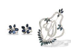 Brosche/Anhänger/Ohrschmuck: große und äußerst dekorative vintage Saphir/Diamant-Brosche mit