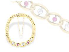Armband: seltenes, antikes Goldarmband mit Rubinen und Altschliffbrillanten, vermutlich um 1920Ca.