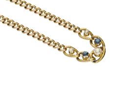 Armband: antikes Goldarmband mit Saphiren und Altschliffbrillanten, vermutlich ca. 1900Ca. 18,5cm