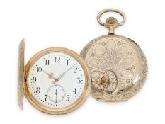Pocket watch: pink gold Art Nouveau splendour hunting case watch with fine quality case, Switzerland