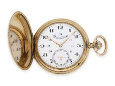 Pocket watch: precision lever watch by IWC Schaffhausen, gold hunting case No. 671617, ca. 1916Ca.