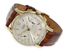 Wristwatch: large, rare chronograph with special case and interesting dedication, present watch of