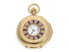 Pocket watch: exquisite gold/ enamel lady's half hunting case repeater with precision lever