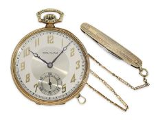 Pocket watch: completely original preserved Art Deco man's set with golden dress watch, watch