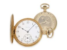 Pocket watch: very beautiful golden American Art Nouveau hunting case watch with extraordinary