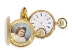 Pocket watch: early Le Coultre gold hunting case watch with concealed enamel painting and minute