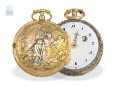 Pocket watch: splendid rococo verge watch with 4-coloured gold case, a toc & a tact repeater, Freres