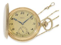 Pocket watch: high-quality Alpina Art Deco gold hunting case watch with gold chain and original box,