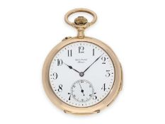 Pocket watch: large and very fine precision pocket watch minute repeater, 18K pink gold, C.E. Lardet