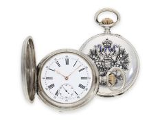 Pocket watch: silver hunting case watch with enamelled Tsar's eagle, present watch of the Russian