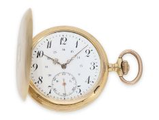 Pocket watch: exceptionally large Swiss gold hunting case watch with precision lever movement, so-