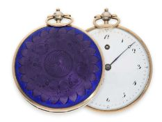 Pocket watch: unique and extra large Lepine with gold/ silver/ enamel case, probably Lepine calibre,
