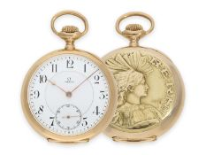 Pocket watch: extremely rare Omega gold marksman watch, limited observatory chronometer,
