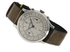Wristwatch: very early large Eberhard Chronograph in steel, ca. 1938Ca. Ø40mm, stainless steel, case