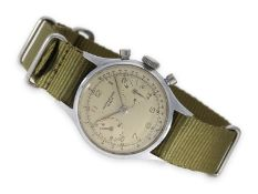 Wristwatch: very beautiful and large rare Geneva stainless steel chronograph, Baume & Mercier,