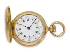 Pocket watch: smallest known to us Patek Philippe half hunting case watch with gold/ enamel case,