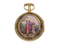 Pocket watch: very fine gold/ enamel verge watch with gem and pearl setting, Vauchez a Paris, ca.