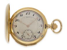 Pocket watch: high-quality gold hunting case quarter-hour repeater, Le Coultre top calibre, signed