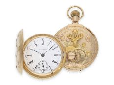 "Pocket watch: heavy ""Multicolour True Box Hinged"" gold hunting case watch in fantastic quality and"