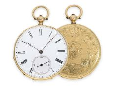 Pocket watch: beautiful engine turned Lepine in 18K gold, ca. 1860Ca. Ø45mm, ca. 49g, 18K gold, back