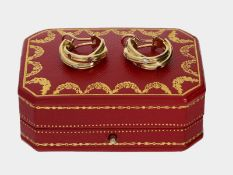 Ohrschmuck: dekorative Gelbgold-Creolen mit Diamanten, Rubinen und Saphiren, 18K Gold, signiert