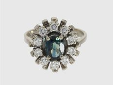 Ring: weißgoldener vintage Saphir/Brillant-Blütenring, ca. 1,25ctCa. Ø16mm, RG50, ca. 4,6g, 14K