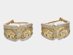 Ohrschmuck: dekorativer vintage Ohrschmuck mit Elefantenmotiven,14K GelbgoldCa. 21,5 x 12,5mm, ca.