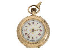 Taschenuhr: kleine goldene Damentaschenuhr/Anhängeuhr mit dekorativem Emaillezifferblatt, ca.