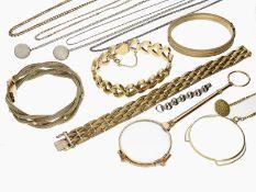 Konvolut Schmuck: interessantes vintage Konvolut aus Armbändern, Ketten, Lorgnon und Lupe,
