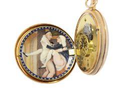 Taschenuhr: hochwertige goldene Lepine mit 1/4-Stunden Repetition und versteckter erotischer