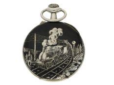 Taschenuhr: große attraktive übergroße Doxa Eisenbahneruhr mit Tuladekoration, ca. 1906Ca. Ø68,