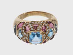 Ring: attraktiver Topasring mit reichem Edelsteinbesatz, 14K RoségoldCa. Ø19mm, RG60, Breite oben