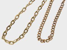 Armband: ein Gelbgoldarmband und eine Uhrenkette, 8K und 14K Gold1 Armband ca. 22,5cm lang, ca. 3,