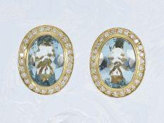 Ohrschmuck: attraktive und sehr hochwertige Aquamarinohrclips mit Brillanten, insgesamt ca. 8,