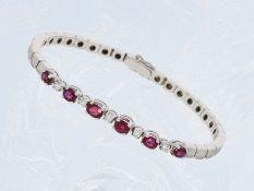 Armband: hochwertiges, sehr geschmackvolles Rubin/Brillant-Goldschmiedearmband, ca. 2,5ctCa. 18cm